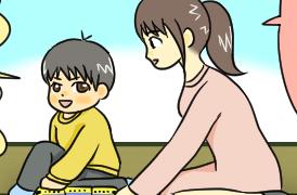 ドクターイエローとはやぶさのプラレールで遊んでいる親子のイラスト。